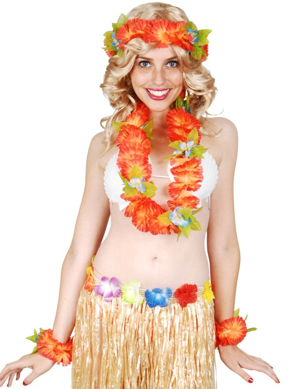 HAWAIIAN FLOWER LEI, HEAD PIECE AND BRACELET SET - ORANGE